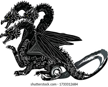 illustration with three heads dragon isolated on white background