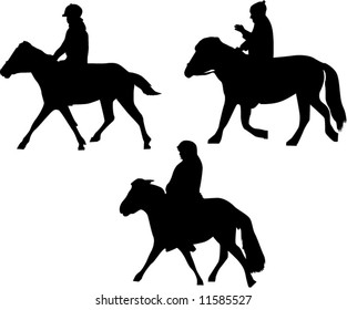 illustration with three horsemen silhouettes on white background