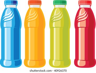 An illustration of three juice bottles