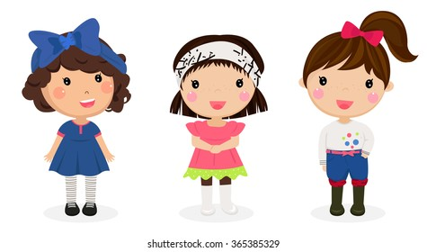 Illustration of the three kids on a white background