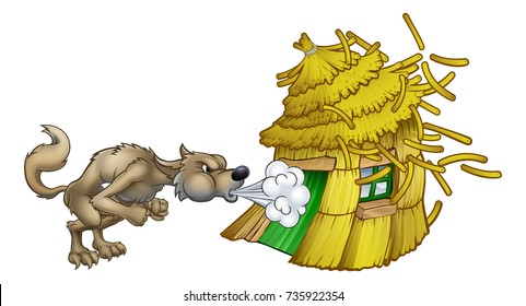 An illustration from the three little pigs childrens fairytale story, of the big bad wolf cartoon character blowing down the straw house.