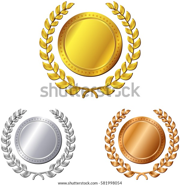 Illustration of three medals on white background