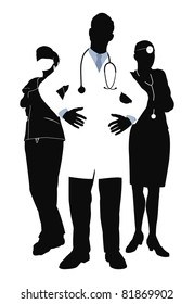 Illustration of three members of a medical team