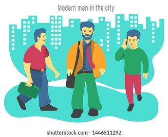 Illustration of three Modern business men in the city. Cute and fun vibe, flat design. In the background: illustrated buildings and a caption