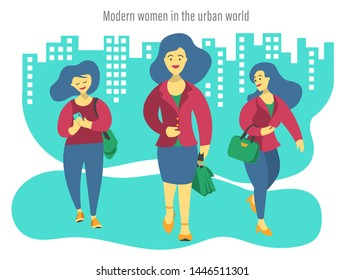 Illustration of three Modern business women in the urban world. Cute and fun vibe, flat design. In the background: illustrated buildings and a caption