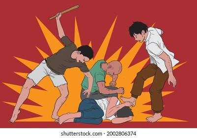 illustration of three people beating a man, gang violence - vector