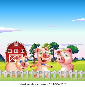 Illustration of the three pigs dancing inside the fence