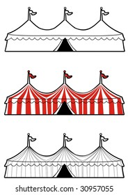Illustration of a three ringed circus tent in color and black and white.  Ideal for carnival signs