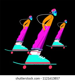 illustration of three skaters on a dark background in flat style