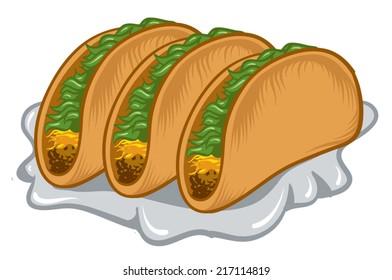 An Illustration of a three stuffed tacos.