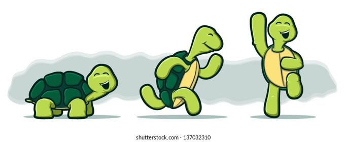 Illustration of three tortoises running and jumping with smiles