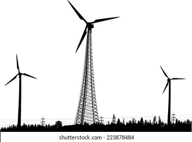 illustration with three wind power generator silhouettes in forest isolated on white background