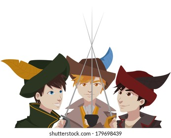 illustration of three young handsome musketeers vector