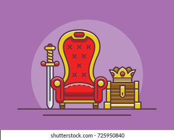 illustration of the throne of the sword and the crown