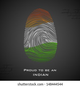 illustration of thumbprint in Indian color showing proud to be an India