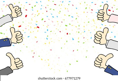 Illustration of Thumbs up and Confetti