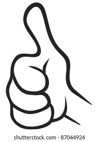 Illustration of thumbs up gesture isolated on white