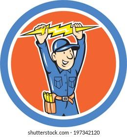 Illustration of a thunderbolt toolman electrician worker holding lightning bolt set inside circle done in cartoon style.
