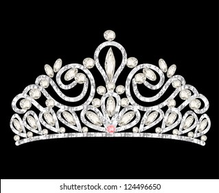illustration tiara crown women's wedding with white stones