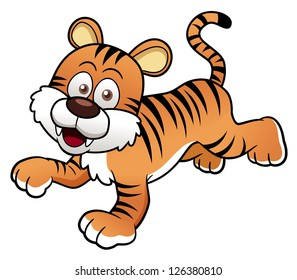 illustration of Tiger cartoon.Vector