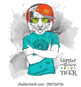 Hipster Dressed Cheetah Tshirt Glasses Headphones Vector de