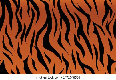 Illustration tiger skin seamless pattern. Black stripes on an orange background. Gradient. Camouflage. Print on clothes on fabric on paper.