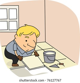 Man Tiling Floor Stock Vectors, Images & Vector Art