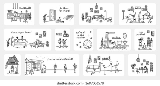 Illustration of tiny people in quarantine, various activities like meditation, cooking, home office, exercising, shopping for neighbours - Coronavirus pandemic 2020