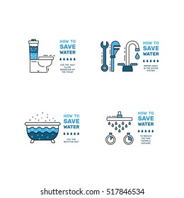 Illustration with tips on saving water consumption by man in a house to reduce financial costs and reduce the amount of accounts with water consumption. Outline icon symbol saving water. Save water
