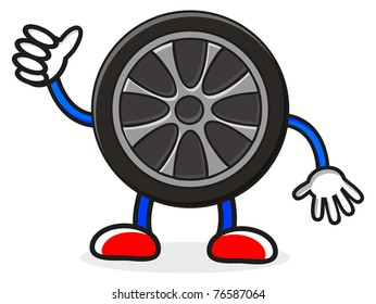 illustration of tire character