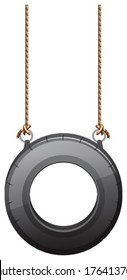 Illustration of a tire swing on a white background
