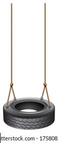 Illustration of a tire swing with a rope on a white background