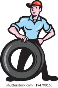 Illustration of a tireman mechanic with tire facing front set on isolated background done in cartoon style.