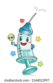 Illustration of a Toddler Syringe Mascot with Vaccine or Medicine Holding a Rattle