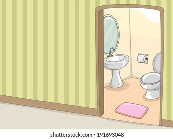 Illustration of a Toilet with an Accompanying Lavatory