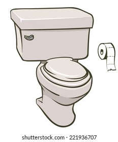 An Illustration of a toilet and a roll of tissue