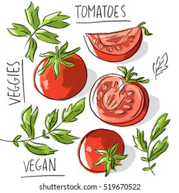 Illustration tomatoes with lettering
