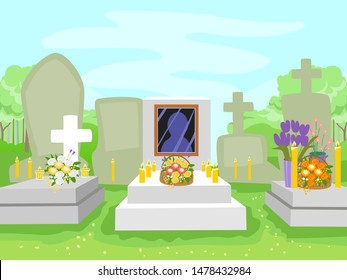 Illustration of  Tombs in a Cemetery with Flowers and Lighted Candles for All Souls Day