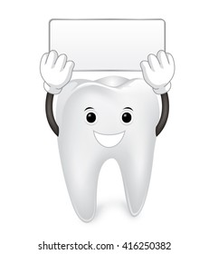 illustration of a tooth character with sign.