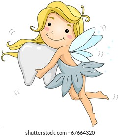 Illustration of a Tooth Fairy Carrying a Tooth