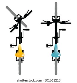 Illustration of a top view of generic bicycles isolated on a white background.
