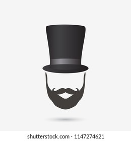 Illustration of a tophat and beard design isolated on a white background.