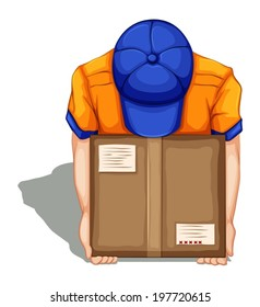 Illustration of a topview of a delivery man on a white background