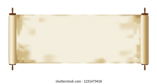 Illustration of a Torah / parchment scroll isolated on white background.