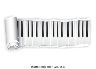 illustration of torn paper piano keypad rolled in white background