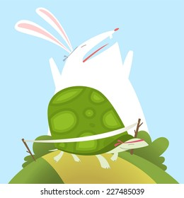 Illustration The tortoise and the hare aesop fable Fully editable vector.