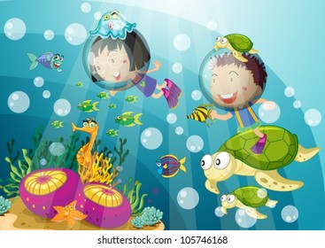 illustration of tortoise and kids in submarine