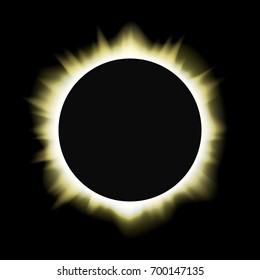 Illustration of a total sun / solar eclipse. Vector