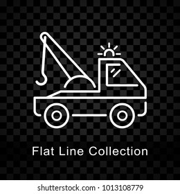 Illustration of tow truck icon on checkered background