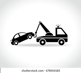 Illustration of tow truck icon on white background